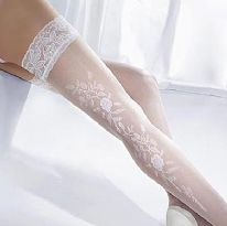 White Floral Patterned Seam Hold-up Stockings